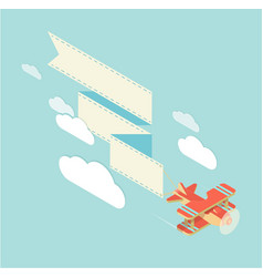 biplane with ribbon square vector image