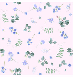 Blue flowers on pink bg floral pattern vector
