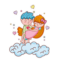 Boy carrying girl in the clouds with hearts vector
