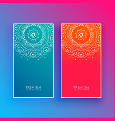 Bright mandala banners in blue and red colors vector