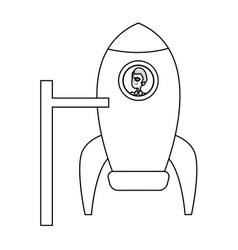 Business man inside rocket starup work vector