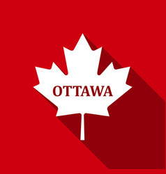 canadian maple leaf with city name ottawa flat vector image
