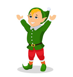 cartoon christmas elf stands with hands up vector image