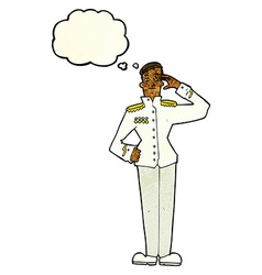 Cartoon military man in dress uniform with thought vector