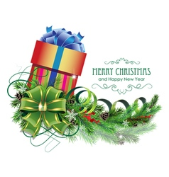 Christmas present with green bow and fir branch vector image