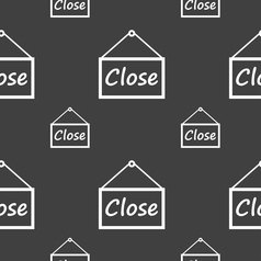 close icon sign Seamless pattern on a gray vector image