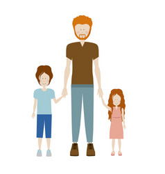 Color silhouette with kids and dad with redhead vector