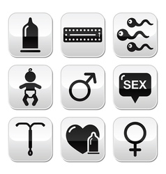 Contraception methods sex buttons sex vector
