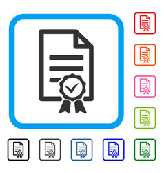 Contract document framed icon vector