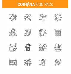 Coronavirus awareness icon 16 line icons icon vector