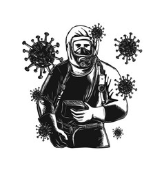 Coronavirus with doctor wearing protective suit vector