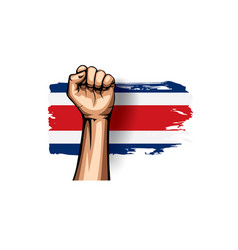 Costa rica flag and hand on white background vector