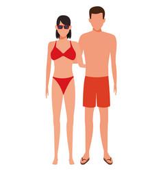 Couple wearing swimwear vector