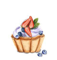 cupcake invitation isolated watercolor strawberry vector image
