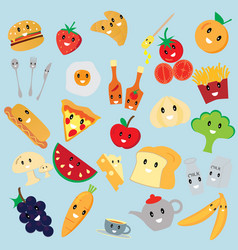 cute bakery and fruit cartoon vector image