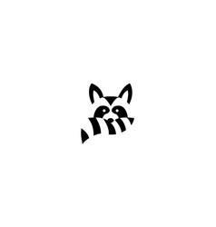 Cute raccoon head face and tail logo design icon vector