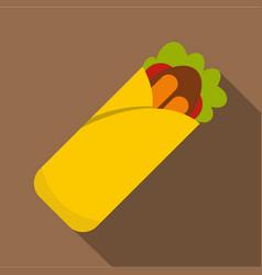 doner kebab icon flat style vector image