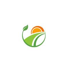 ecology landscape nature farm logo vector image