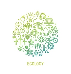 ecology with icons vector image