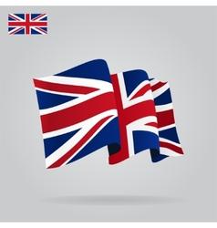 Flat and waving british flag vector