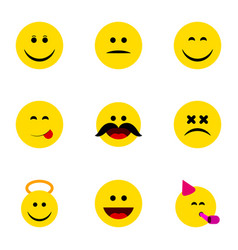 Flat icon emoji set of laugh angel cross-eyed vector