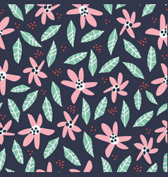 Flowers and foliage hand drawn seamless pattern vector