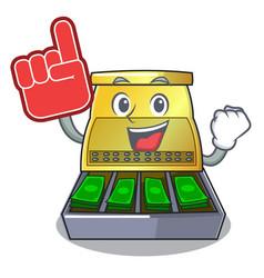 Foam finger cartoon cash register with a money vector