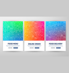 food delivery flyer concepts vector image