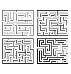 four black mazes vector image