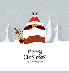 funny christmas card design template with santa vector image