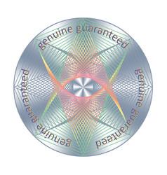 Genuine guaranteed element round hologram sticker vector