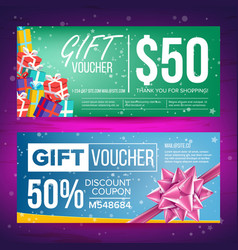 Gift voucher horizontal coupon design vector