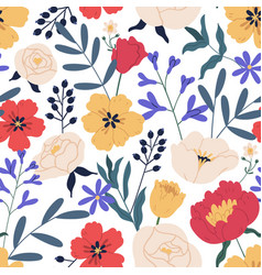 gorgeous seamless floral pattern with eucalyptus vector image