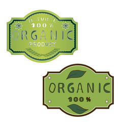 green label organic vector image