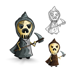 Halloween monsters isolated sketch style reapers vector