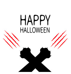 Happy halloween bloody claws animal scratch vector