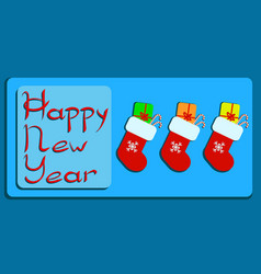 happy new year socks with gifts eps vector image
