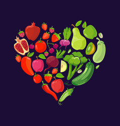 Heart shapes with fruits and vegetables vector
