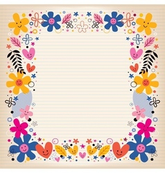 Hearts and flowers border vector