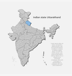 India country map and state uttarakhand template vector