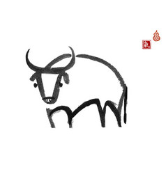 ink painting bull chinese new year symbol of vector image