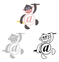 International sign email animals monkey vector