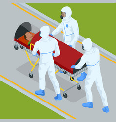 Isometric ambulance emergency paramedic carrying vector