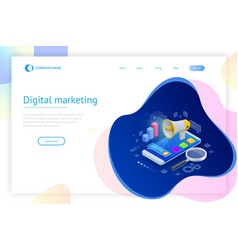 isometric concept of analytics strategy vector image