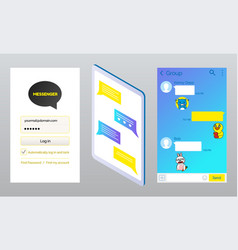 kakao talk messenger made koreans pages set vector image