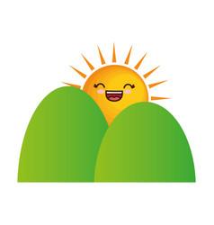 Kawaii mountains and sun icon vector