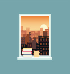 landscape view from window with books on the vector image