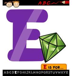Letter e with emerald cartoon vector
