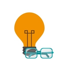 Lightbulb and glasses icon vector