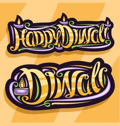 Logos for indian diwali festival vector